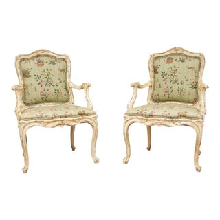 Vintage Louis XV Style Carved Wood Hand Painted Armchairs-A Pair For Sale