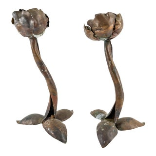 Arts and Crafts Brutalist Copper Floral Candlesticks - a Pair For Sale