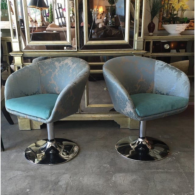 Vintage Custom Teal Swivel Chairs - A Pair - Image 5 of 11