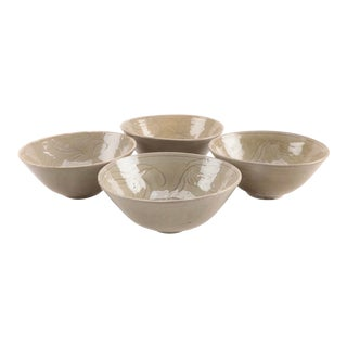Late 19th Century Japanese Donburi Earthenware Bowls - Set of 4 For Sale