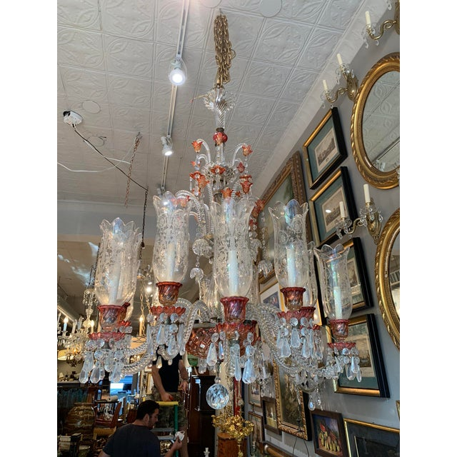Late 19th Century Antique Original Signed French Baccarat 12 Light Cranberry Red Crystal Chandelier For Sale - Image 9 of 9