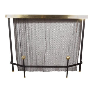 Mid-Century Modern Black Enameled Iron and Brass Fire Screen by Donald Deskey For Sale
