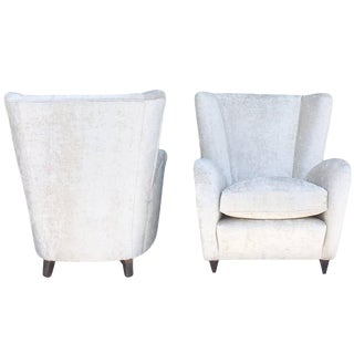 20th Century Paolo Buffa White Velvet Lounge Chairs - a Pair For Sale