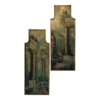 Antique Architectural Oil Painting on Plaster, Framed - a Pair For Sale