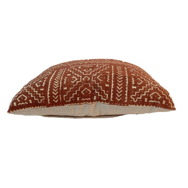 """African Custom Made Mud cloth Pillow 20 """" by 17"""" W For Sale - Image 4 of 5"""