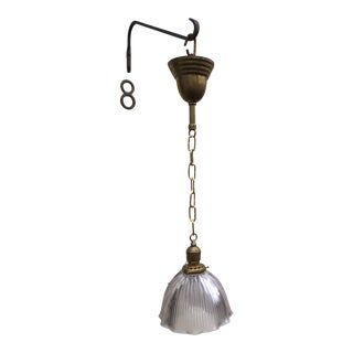 1920s Holophane Ribbed Glass Shade and Brass Hanging Fixture For Sale