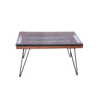 Glass Top Coffee Table With Hairpin Legs, Living Room, Wood and Metal, Accent Glass Center Table, Wooden Accent Home Furniture- Natural For Sale