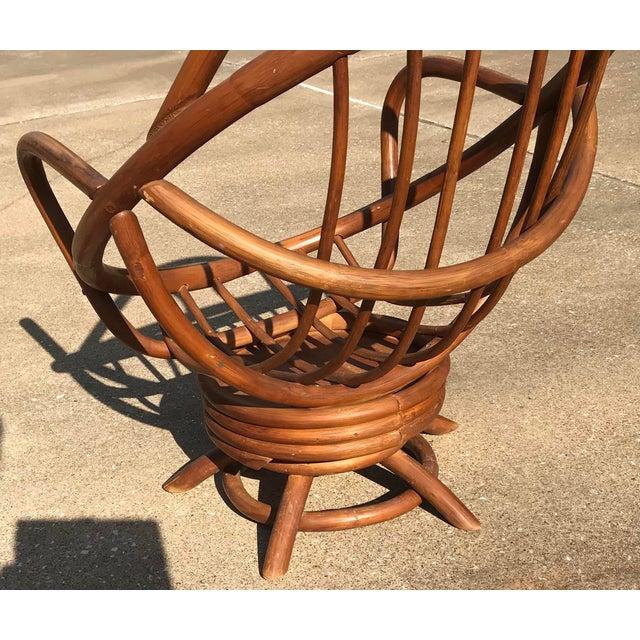 Mid Century Boho Chic Bamboo & Rattan Swivel Clam Chair ...