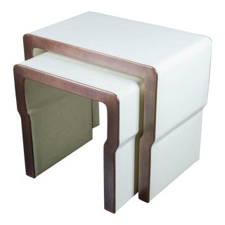 Cream Lacquer & Copper Cintura Nesting Table - A Pair For Sale