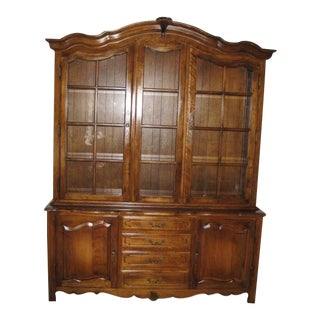 Ethan Allen Country French 2 Piece Lighted China Cabinet For Sale