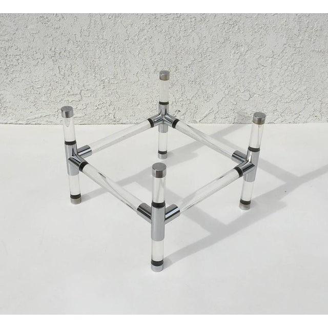 Acrylic and Chrome Cocktail Table by Charles Hollis Jones For Sale In Palm Springs - Image 6 of 6