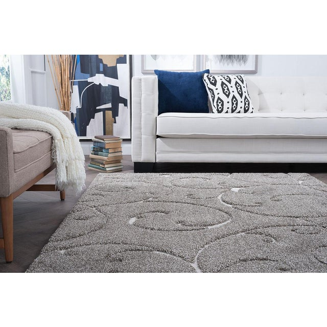 """Textile Berkshire Shag Scrollwork Gray Transitional Small Area Rug - 3'3"""" x 5' For Sale - Image 7 of 10"""