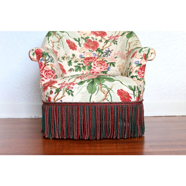 Ruby Red Napoleon III Style Floral Boudoir Chair With Bullion Fringe For Sale - Image 8 of 12