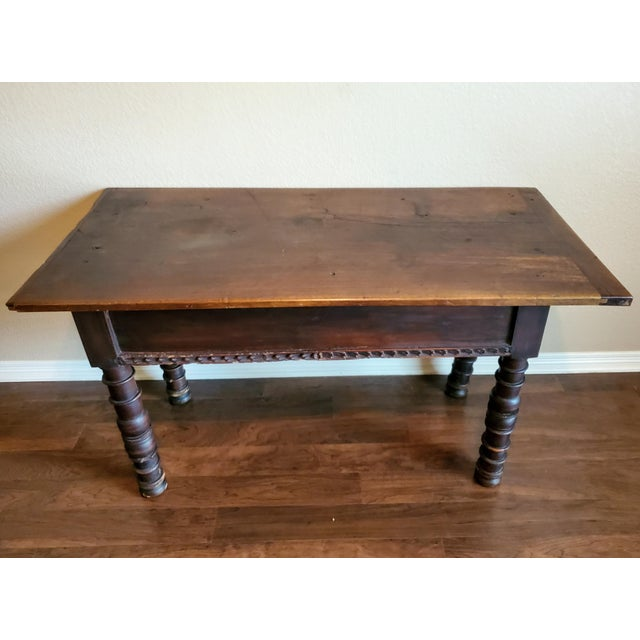 Rustic 18th Century Spanish Baroque Period Carved Walnut Table For Sale In Austin - Image 6 of 12