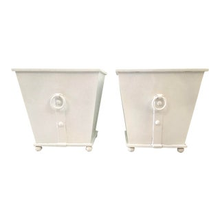 French Metal Directoire Square Planter Boxes - a Pair For Sale