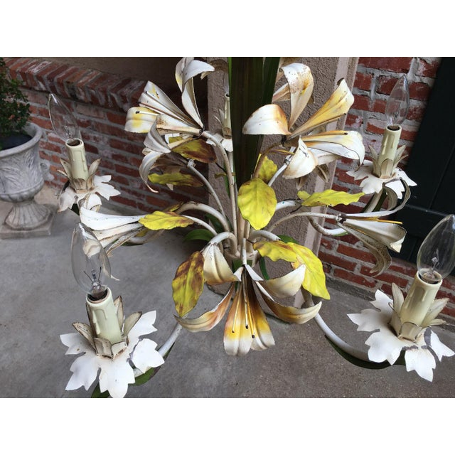 Antique French Tole Flower Polychrome Metal Chandelier For Sale In Dallas - Image 6 of 10