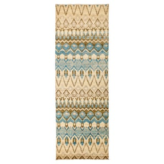 """New Ikat Hand-Knotted Rug - 4' 1"""" X 11' 7"""" For Sale"""