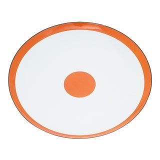 Large White With Orange Rim and Dot Enamel Platter For Sale