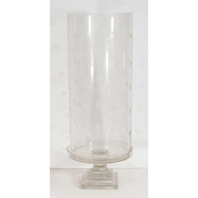 Mid-Century Modern Pair of Tall Glass Hurricanes For Sale - Image 3 of 8