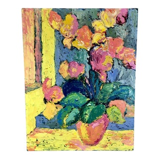 1972 Vintage Impasto Still Life Floral Painting, Signed Oil on Board For Sale