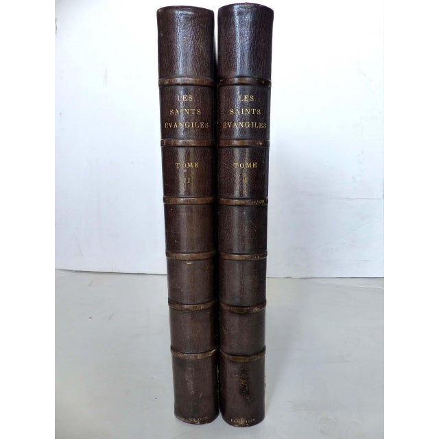 American Classical Splendid Two Volume Set 1873 First Edition Books Les Saints Evangiles - A Pair For Sale - Image 3 of 11