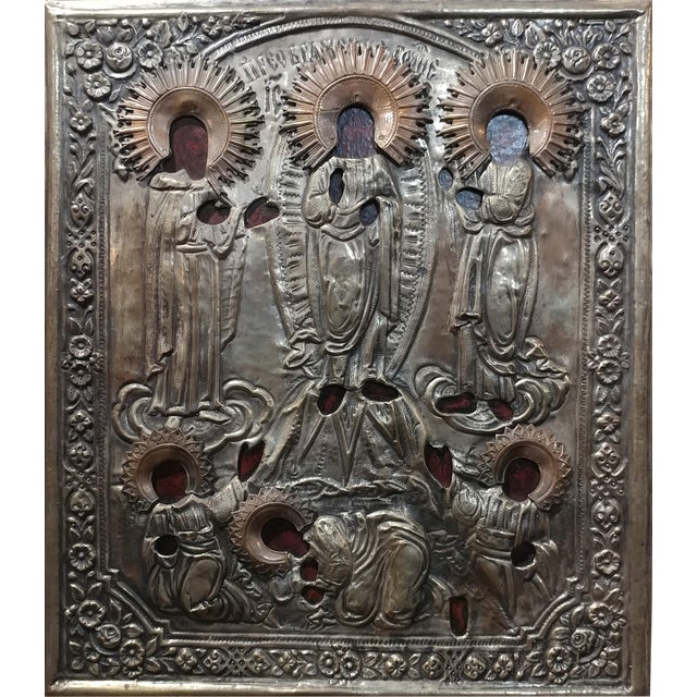 Antique Silver Plated Russian Icon - Image 1 of 8
