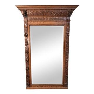 Antique Oak Wall Mirror