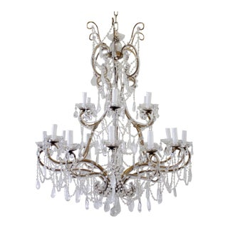 Antique Reproduction Italian Chandelier With Rock Style Crystals For Sale