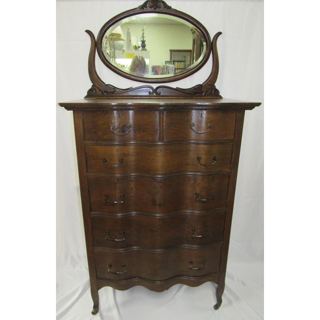 Brass 1900s Traditional Oak Highboy Dresser With Mirror For Sale - Image 7 of 12