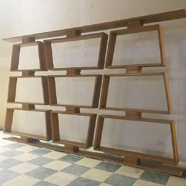 Mid-Century Wood Room Divider/Shelves. Made of white oak.