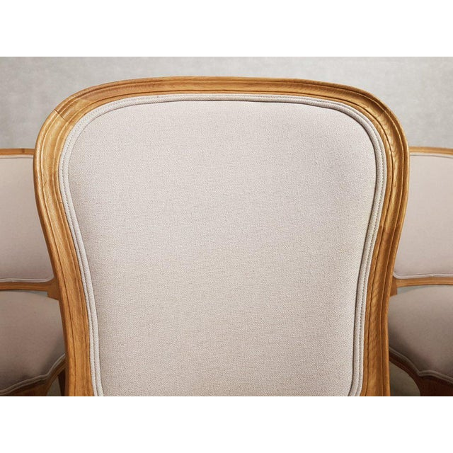 Wood Set of 8 Louis XV French Natural Oak Dining Chairs Upholstered in Belgian Linen For Sale - Image 7 of 13