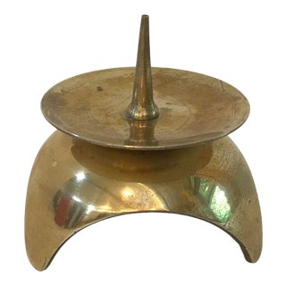 Vintage Brass Space Age Candle Holder For Sale