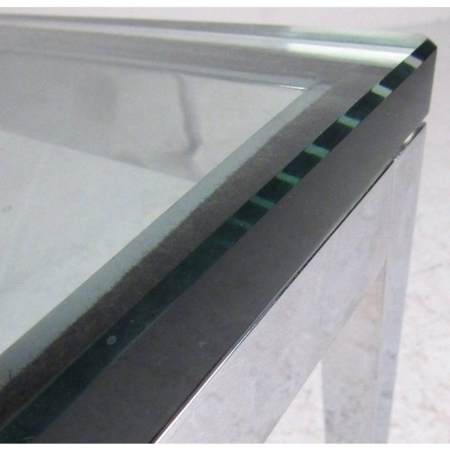 Pair of Mid-Century Modern Chrome and Glass Coffee Tables For Sale - Image 10 of 11
