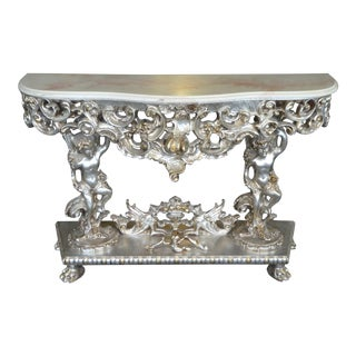 20th Century Italian Rococo Silver Leaf Console Table For Sale