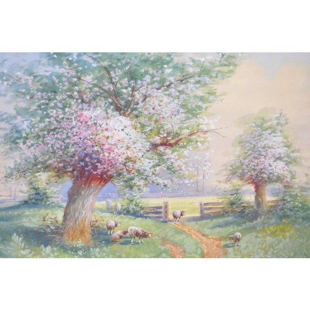 1940s Flowering Country Landscape Watercolor by W.T. Scott For Sale - Image 4 of 5