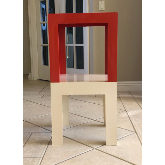 1970s Modern Parsons Fiberglass Red and White Side Tables – a Pair For Sale - Image 4 of 6