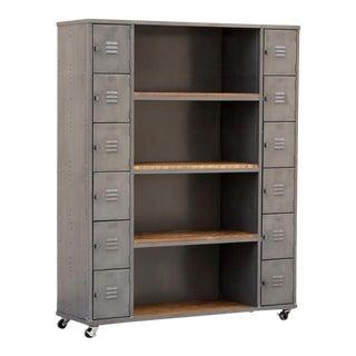 Two-Column Wood & Steel Locker and Shelf Unit, Custom Order For Sale