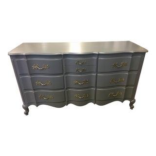 1960's Vintage Ella French Provincial Dark Grey Dresser For Sale