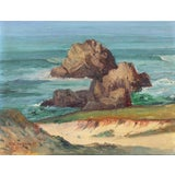 Image of Frank Marion Peebles, Early California Plein Air Seascape, 'View of Monterey Bay', 1924 For Sale