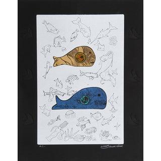 Martin Barooshian, Big Fish Eat Little Fish - I, Intaglio and Aquatint For Sale