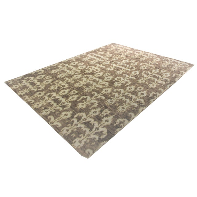 A beautiful handmade Ikat rug. Geometric design woven in by Aara Rug hands. This rug is made of 75% bamboo silk and 25%...