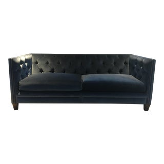 Kravet Malibu Blue Velvet Sofa For Sale