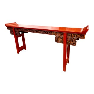 19th Century Large Red Lacquer Carved Altar Table For Sale