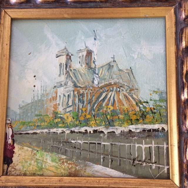 Notre Dame Oil on Canvas Board Painting For Sale - Image 10 of 10