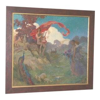 Vintage Fantasy Mythology Signed f.j.m. Nude With Lyre Landscape Painting