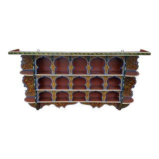 Moroccan Multicolor Wooden Wall Shelf For Sale