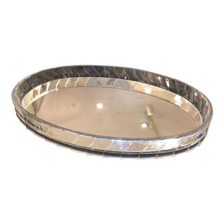Art Deco Oval Lucite EdgeMirrored Vanity Tray