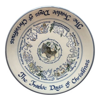 "Vintage Louisville Stoneware 12 Days of Christmas 13.5"" Round Platter For Sale"