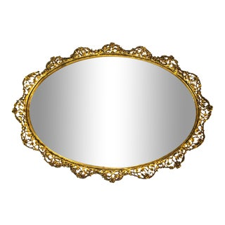 1960s Hollywood Regency Gold Gilt Mirror Vanity Tray For Sale