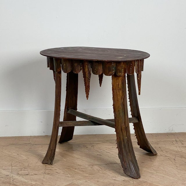 Mid Century Palm Leaf Table With Antique Marble Top, Hawaii For Sale - Image 4 of 6